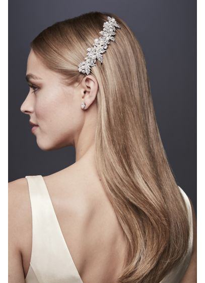 David's Bridal Grey (Embellished Crystal and Pearl Comb)