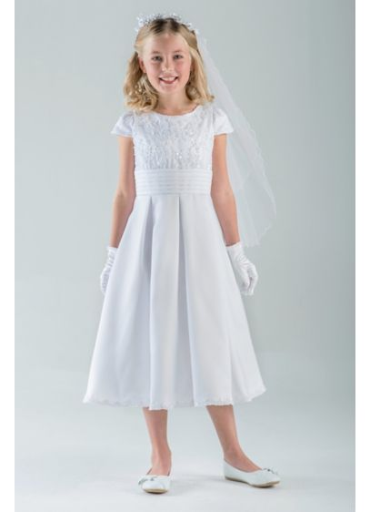 Embellished Cummerbund Tea-Length Communion Dress - Pearly beads and shimmering sequins light up the