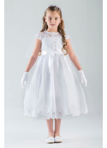 2947312cbb8 Lace Cap Sleeve Illusion Communion Dress with Bow