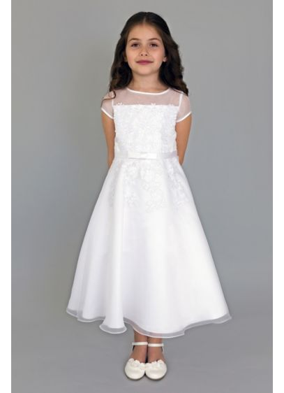 Illusion Cap Sleeve Fit-and-Flare Communion Dress - Fashioned with a satin bodice and a full