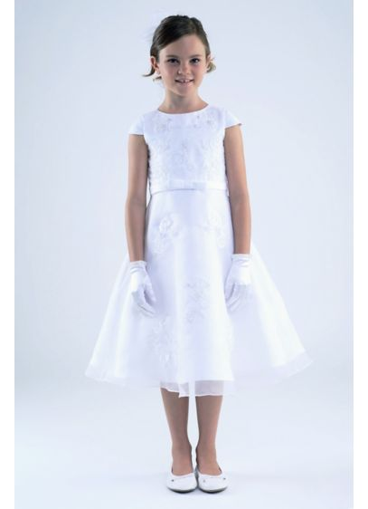 Embroidered Applique Cap Sleeve Flower Girl Dress - She'll shine on her communion day in this
