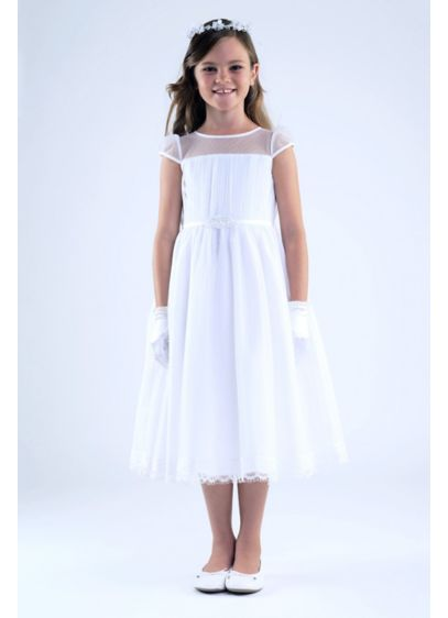 Point D'Esprit Sheer Neck Communion Dress with Bel - This first communion dress is for the angel