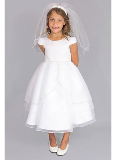 a90c2bf54a9 Satin Cap Sleeve Communion Dress with Tulip Skirt