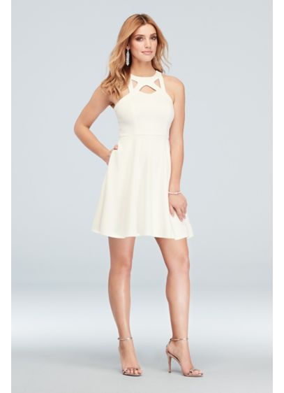 High-Neck Cutout Scuba Crepe Short Skater Dress - This traditional high-neckline style gets a fun refresh