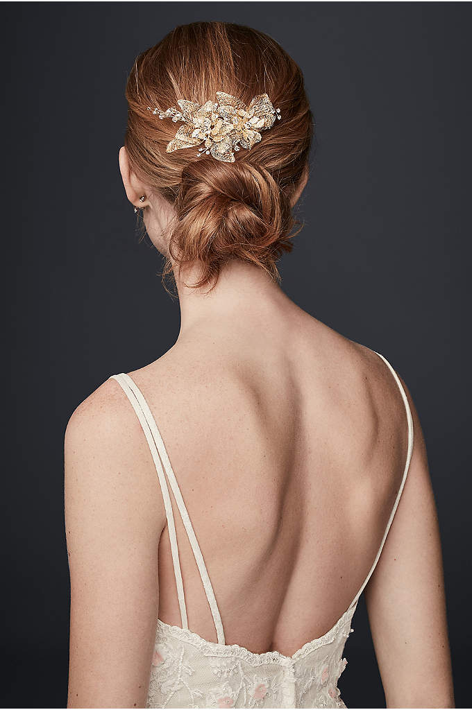 Organza and Crystal Floral Hair Clip - Light and airy organza leaves give your wedding-day