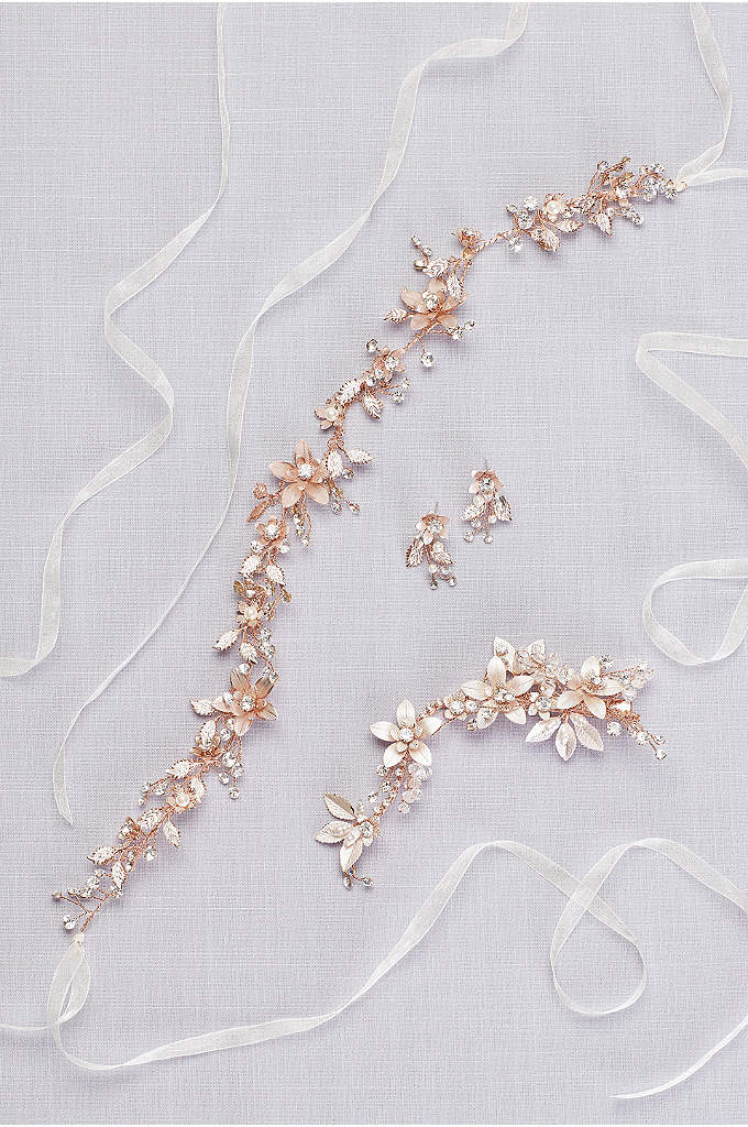 Blooming Pearl and Crystal Hair Clip - The prettiest mix of metallic flowers and beads,