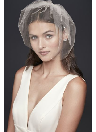 Crystal-Dotted Birdcage Veil - A scattering of glittering crystals adds sparkle to