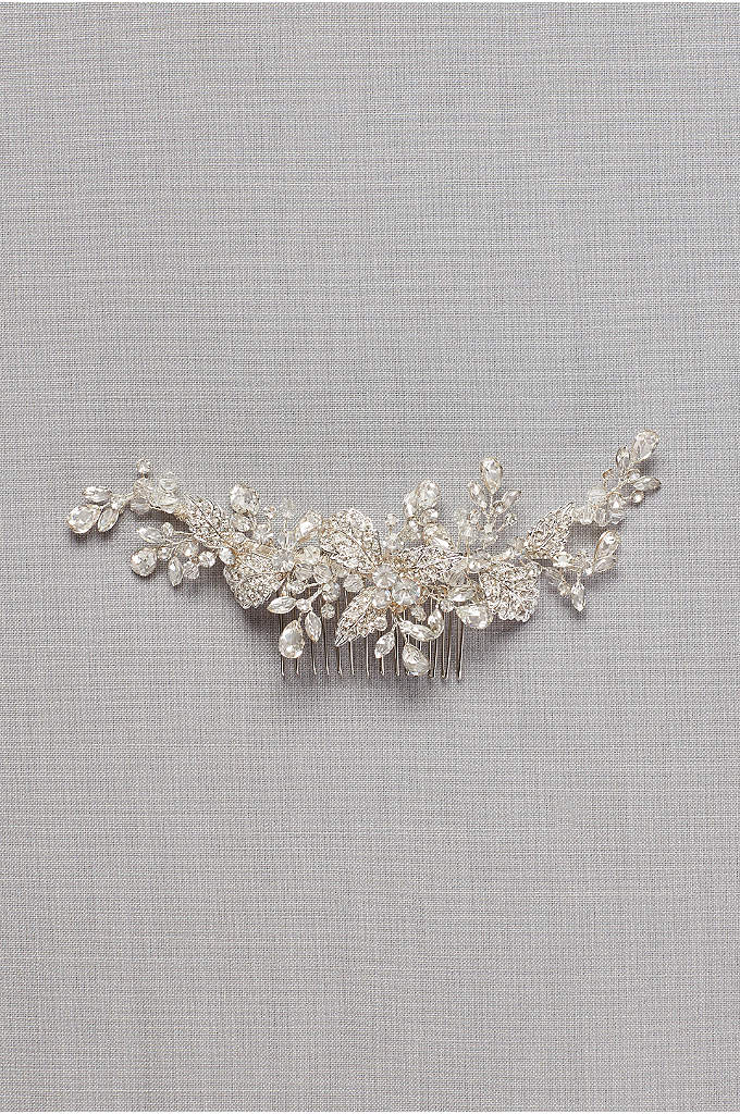 Pave Crystal Flower Hair Comb - Crystal sprigs surround three metallic flowers on this
