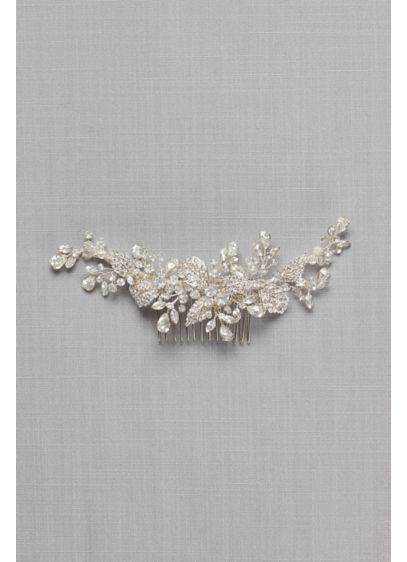 Pave Crystal Flower Hair Comb - Wedding Accessories