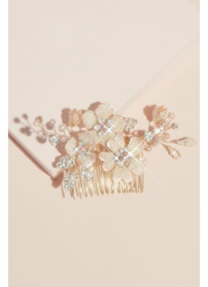 Pearl Crystal and Bead Gilded Flower Hair Comb - From crystal-encrusted leaves to pearl branches to metallic