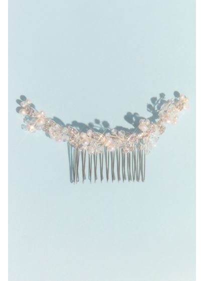 Pearl and Crystal Leaf Hair Comb - Wedding Accessories