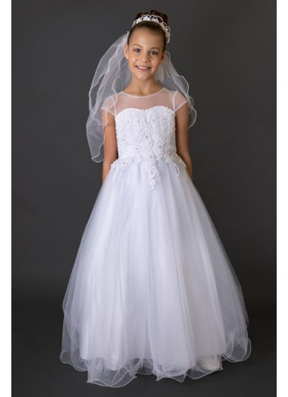 Beaded Wire Hem Short Sleeve Communion Ball Gown - She'll look like a princess on her special