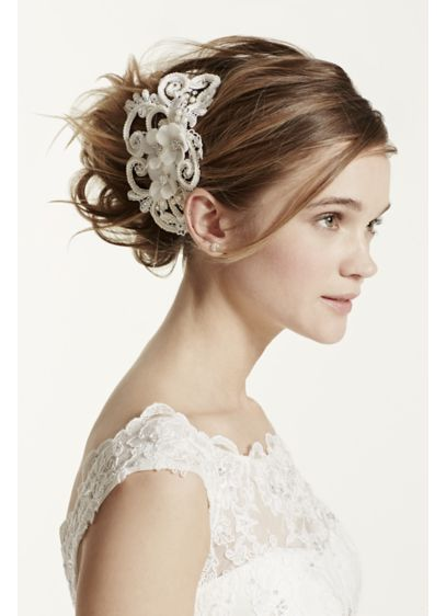David's Bridal Ivory (Galina Swirl and Pearl Coordinated Flower Clip)