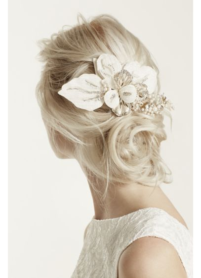 David's Bridal Yellow (Floral Headpiece with Pearls and Crystals)