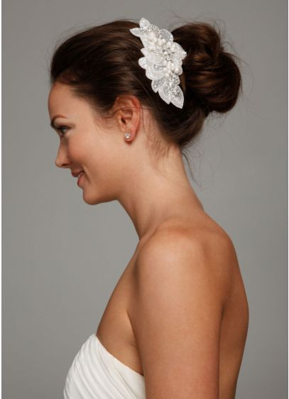 David's Bridal Ivory (Sequin Beaded Comb with Pearls)