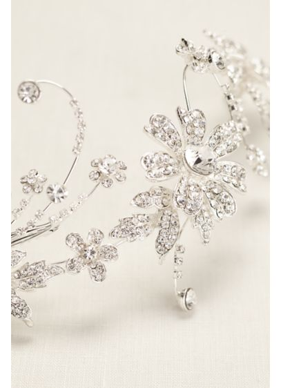 Crystal Flower Double Clip Comb - Wedding Accessories