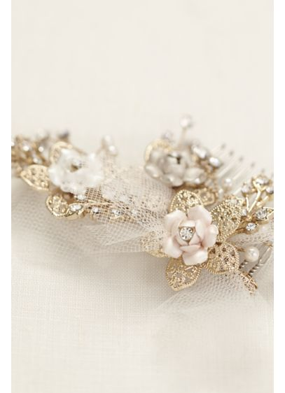 Tri Color Flower Puff Comb - Wedding Accessories