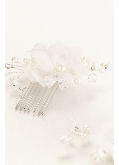 Organza Flower and Crystal Comb Set - Wedding Accessories