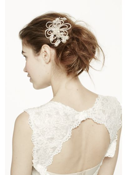 Open Wire Flower Comb with Crystal and Seed Beads - Wedding Accessories