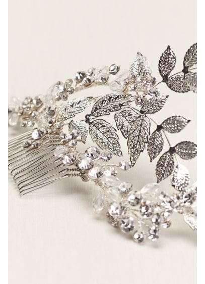 Hammered Leaf and Crystal Vine Comb - Wedding Accessories
