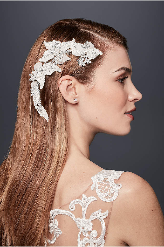 Leafy Rhinestone Flexible Hair Vine - This flexible wire hair vine, embellished with a