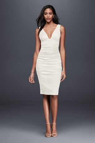 Ruched Jacquard Sheath Dress with Deep-V Neckline | David's Bridal | Tuggl
