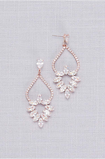 Cubic Zirconia Marquise Wreath Chandelier Earrings