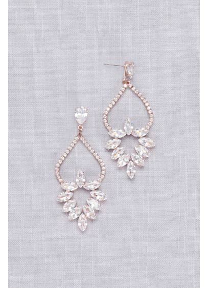 Cubic Zirconia Marquise Wreath Chandelier Earrings - A floral-inspired arrangement of marquise-cut cubic zirconia stones