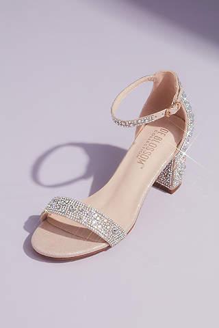 Sandalias De Tacón De Bloque Con Cristales Y Glitter