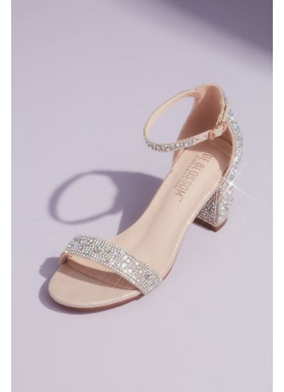 Allover Crystal Glitter Block Heel Sandals - A metallic glitter upper is fully embellished with