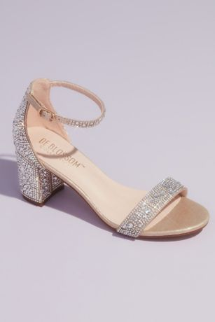 Blossom Ivory;Pink Heeled Sandals (Allover Crystal Glitter Block Heel Sandals)