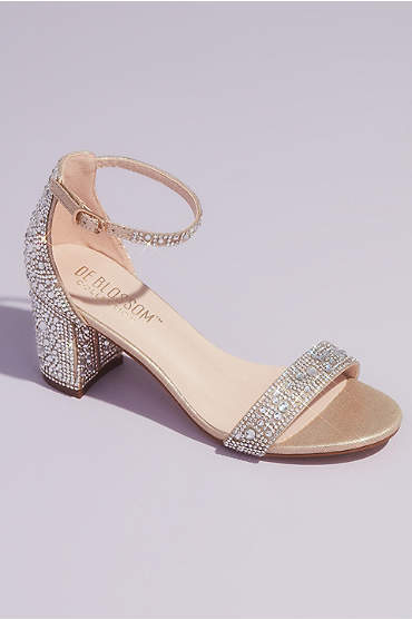 Allover Crystal Glitter Block Heel Sandals