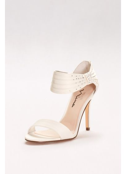 Touch of Nina Ivory (Satin Heels with Embellished Ankle Strap)