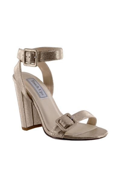 Touch Ups Grey (Block Heel Sandals with Oversized Buckles)