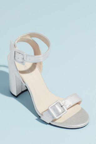 Touch Ups Grey Heeled Sandals (Block Heel Sandals with Oversized Buckles)