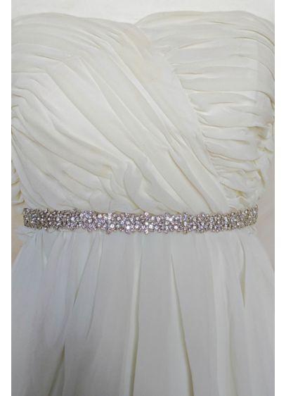 Brides and Hairpins Grey (Hand Sewn Swarovski Crystal Sash with Silk Ribbon)