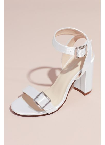 Benjamin Walk White (Dyeable Block Heel Sandals with Oversized Buckles)