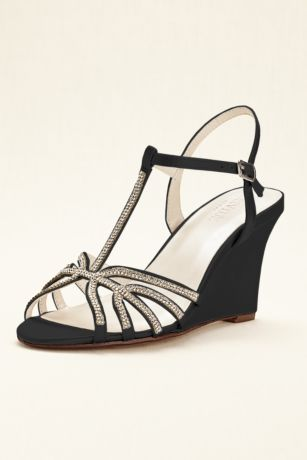 David's Bridal Black;Blue;Grey;Ivory;Pink;Purple;Red;White Sandals;Wedge Shoes (Crystal T-Strap Satin Dyeable Wedge)
