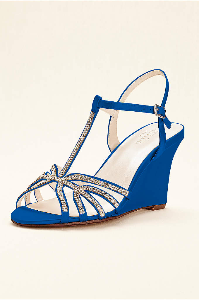 Crystal T-Strap Satin Dyeable Wedge - Add an element of chic glamour and sophistication