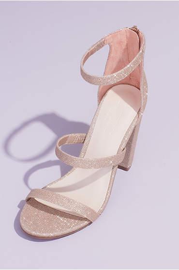 Triple Strap Block Heel Glitter Sandals