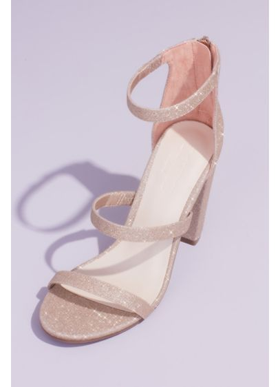 David's Bridal Grey (Triple Strap Block Heel Glitter Sandals)