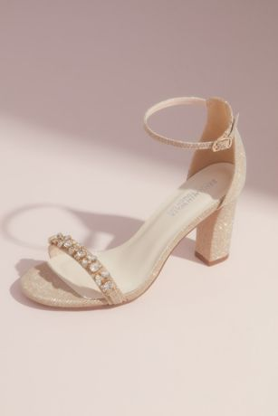 Benjamin Walk Ivory Heeled Sandals (Crystal-Studded Metallic Block Heels)