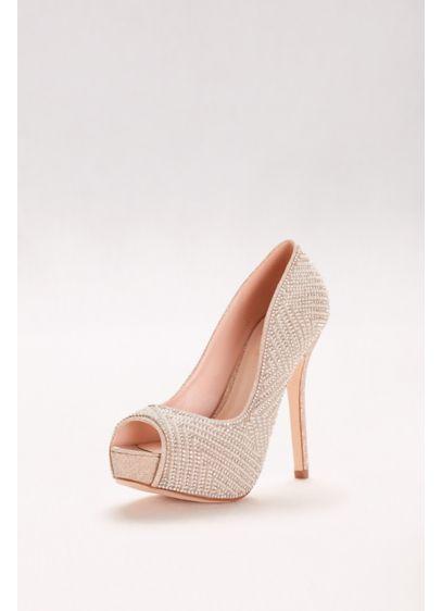 Blossom Beige (Geometric Pearl Platform Peep-Toe Heels)