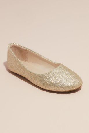Grey;Yellow Flowergirl Shoes (Girls Allover Glitter Round Toe Ballet Flats)