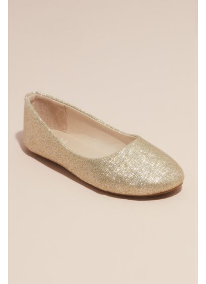 Girls Allover Glitter Round Toe Ballet Flats - A revamp on a classic ballet flat, this