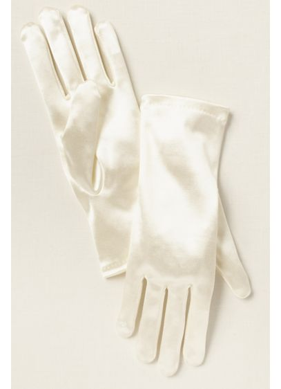 Greatlookz Ivory (Girls Satin Wrist-Length Gloves)