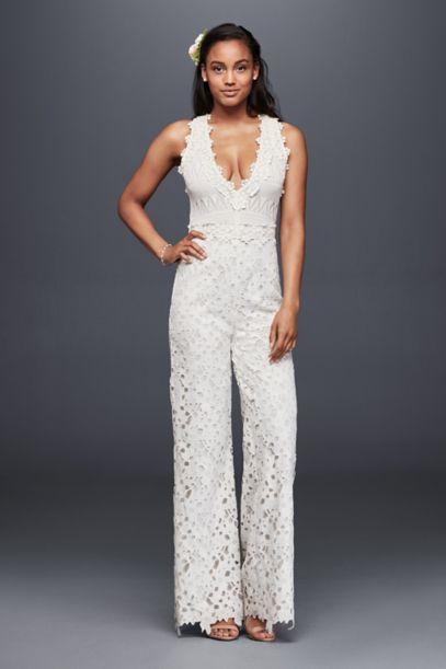 Guipure Lace And Crochet Jumpsuit Davids Bridal