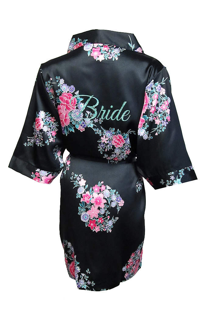 Floral Robe with Glitter Bride - Wrap yourself in luxury in this gorgeous silky