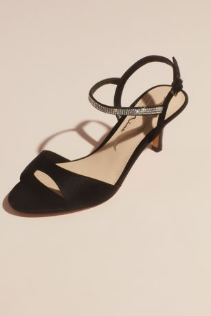 Nina Beige;Black;Blue;Grey;Yellow Heeled Sandals (Satin Evening Sandals with Crystal Ankle Strap)