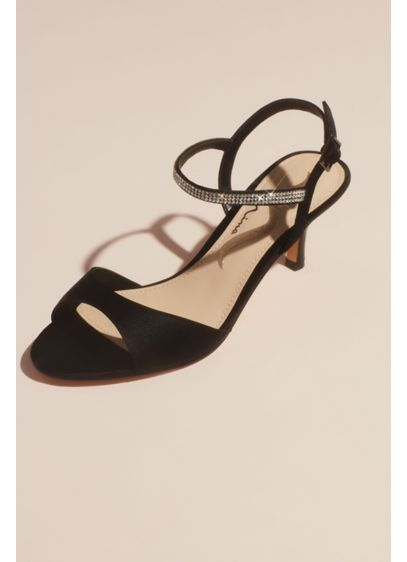 Nina Black (Satin Evening Sandals with Crystal Ankle Strap)
